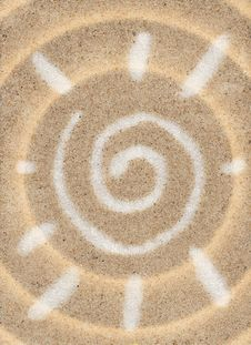 Free Symbol Of Sun On The Sand Stock Photos - 16299093