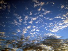 Blue Sky With Black And White Clouds Royalty Free Stock Photography