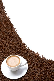 Free Coffee Cup And Grain Royalty Free Stock Image - 16299756