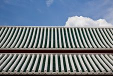 Roof Tiles White And Green With Blue Sky Stock Images