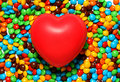Free Soft Red Heart Over Candy Background Stock Photo - 1630250