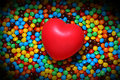 Free Soft Red Heart Over Candy Background Stock Photography - 1630272