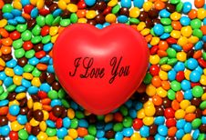 Free Soft Red Heart Over Candy Background Royalty Free Stock Photo - 1630225
