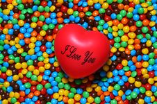 Free Soft Red Heart Over Candy Background Stock Photography - 1630312