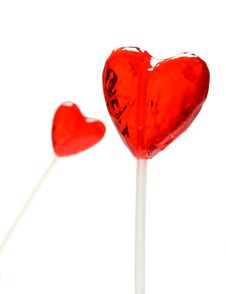 Two Heart Shaped Lollipops For Valentine Stock Image