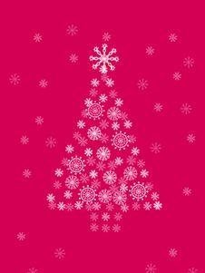 Free Christmas Tree On Crimson Background Stock Photo - 1630810