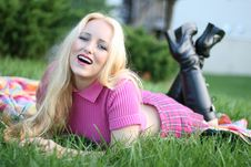 Free Blonde Woman Laughing Outside Royalty Free Stock Photos - 1631458