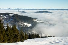 Mountains Under White Clods Stock Image