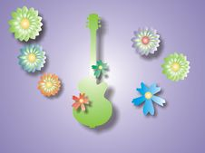 Free Green Guitar With Flowers Royalty Free Stock Images - 1632629