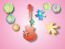 Free Red Guitar With Flowers Stock Photography - 1632632