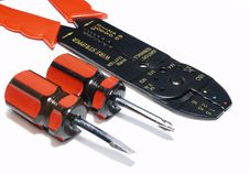 Free Screwdrivers And Wire Cutter Isolated Stock Image - 1633201