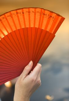 Free Female Holding A Fan Stock Image - 1633501