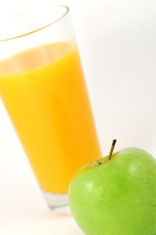 Orange Juice And Green Apple Stock Photos
