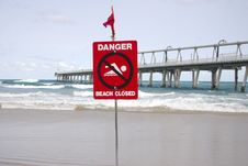 Free Danger Beach Closed Royalty Free Stock Photography - 1634427