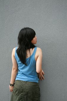 Free Asian Girl Touching Wall Stock Photo - 1635160