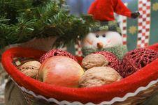 Snowmen With Basket Of Fruits Stock Photos