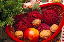 Snowmen With Basket Of Fruits Stock Photo