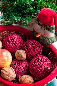 Snowmen With Basket Of Fruits Stock Photos
