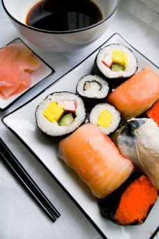 Free Assorted Sushi On Plate Royalty Free Stock Photo - 1635825