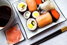 Free Assorted Sushi On Plate Stock Images - 1635834