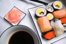 Free Assorted Sushi On Plate Stock Images - 1635854