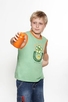 Free A Boy Holds In Hands  Packing With Vitamins. Royalty Free Stock Photography - 1636077