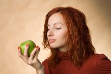 Free Woman With Apple Stock Photo - 1638840