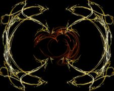 Free Heart- Abstract_gold Royalty Free Stock Image - 1639126