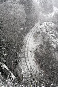 Snowfall On Tracks Royalty Free Stock Photo