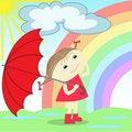 Free Girl Under The Rainbow Royalty Free Stock Image - 16301816