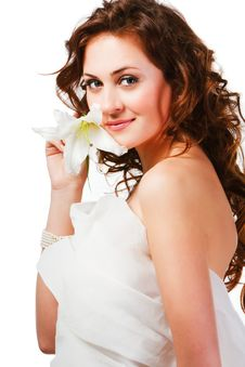 Free Charming Young Girl With A Flower Royalty Free Stock Photos - 16300538