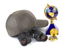 Binoculars, Cap, Compass And Globe Stock Photography
