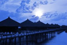 Free Water Bungalows At Night Stock Photography - 16300822