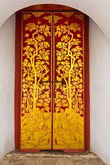 Thai Door At Wat Phra Kaew Royalty Free Stock Image