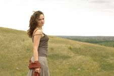 Female Standing On The Hill Stock Images