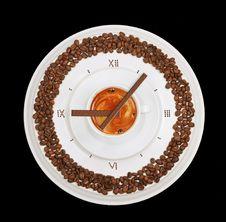 Coffe Clock Royalty Free Stock Photo