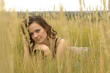 Girl Lying In The Corn Field Royalty Free Stock Photo