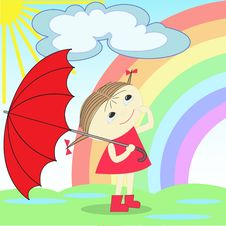Girl Under The Rainbow Royalty Free Stock Image