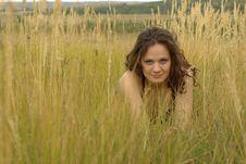 Girl Lying In Corn Field Royalty Free Stock Image