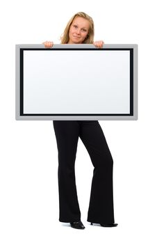 Expressive Woman Holding An Empty Board Stock Photography