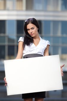 Business Woman With Blank Board Stock Photos