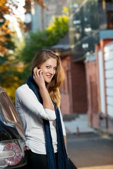 Free Blond Female On The Phone Outdoors Stock Photos - 16303223