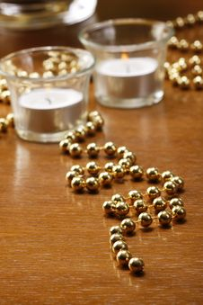 Free Gold Background And Candels On Table Stock Photography - 16303472