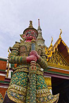 Demon Guardian Wat Phra Kaew Stock Photo