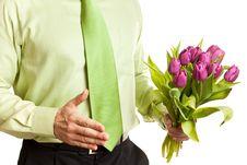 Free Man Holding Flowers Royalty Free Stock Image - 16303636