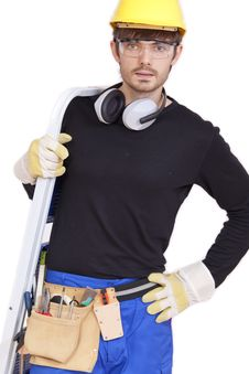 Worker With Ladder Royalty Free Stock Image