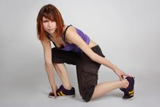 Free Girl In Hip-hop Clothes Sitting On One Knee Royalty Free Stock Photography - 16303997