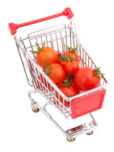 Shopping Cart Full Of Tomatoes Royalty Free Stock Photo