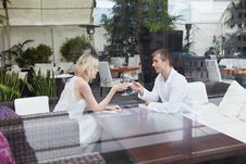 Couple In Restaurant Stock Photo