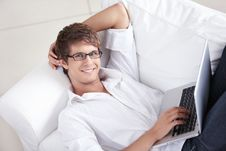 Free Smiling Man With Laptop Royalty Free Stock Image - 16304426
